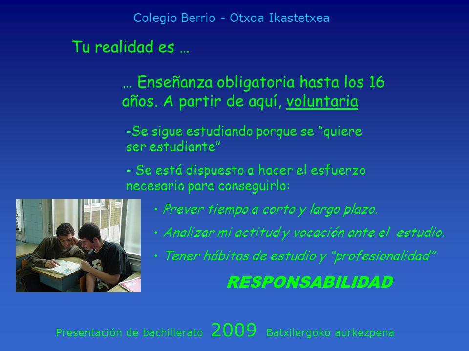 Presentación de bachillerato 2009 Batxilergoko aurkezpena Colegio Berrio - Otxoa Ikastetxea Tu realidad es … … Enseñanza obligatoria hasta los 16 años