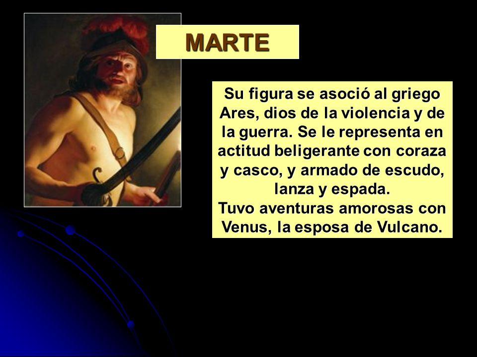 Su figura se asoció al griego Ares, dios de la violencia y de la guerra. Se le representa en actitud beligerante con coraza y casco, y armado de escud