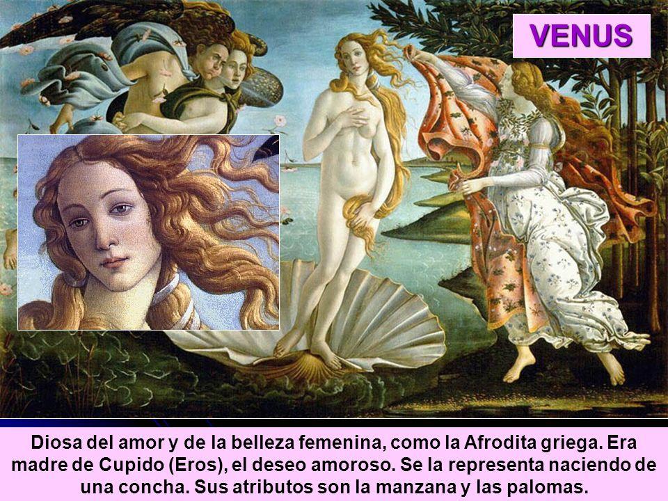 Diosa del amor y de la belleza femenina, como la Afrodita griega. Era madre de Cupido (Eros), el deseo amoroso. Se la representa naciendo de una conch