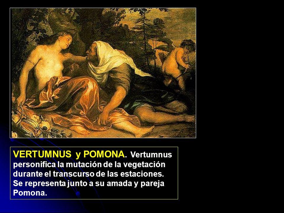 VERTUMNUS y POMONA. Vertumnus personifica la mutación de la vegetación durante el transcurso de las estaciones. Se representa junto a su amada y parej