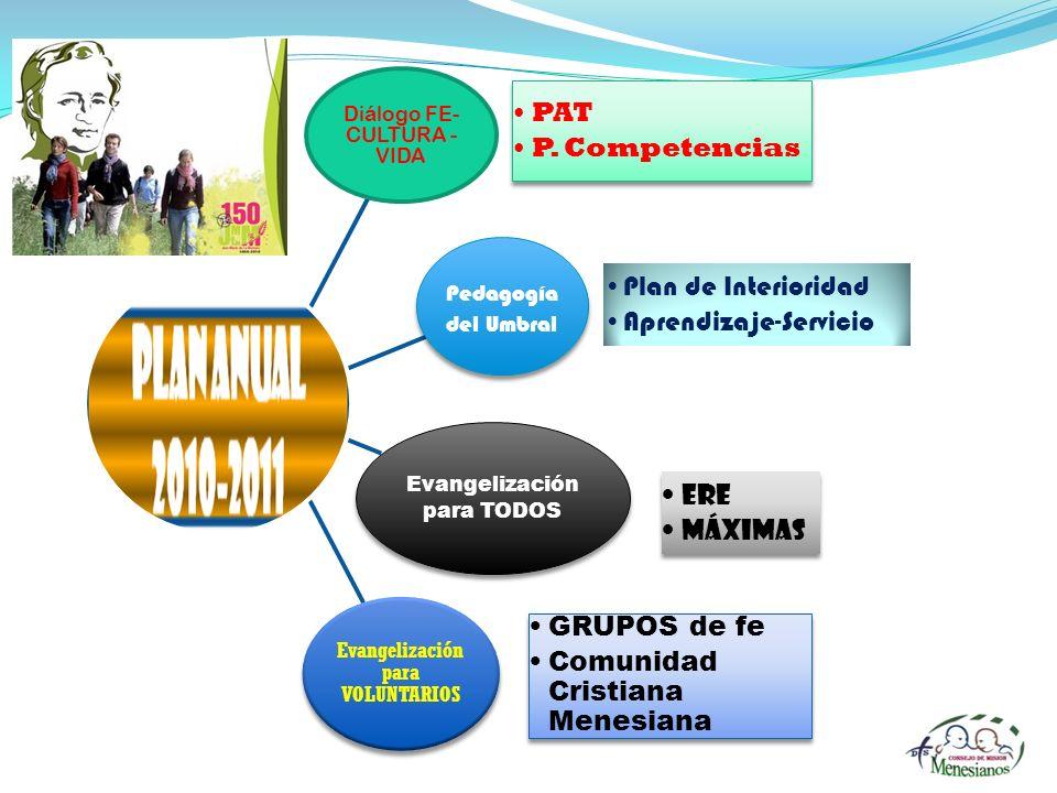 Diálogo FE- CULTURA - VIDA Pedagogía del Umbral Evangelización para TODOS Evangelización para VOLUNTARIOS PAT P. Competencias PAT P. Competencias Plan