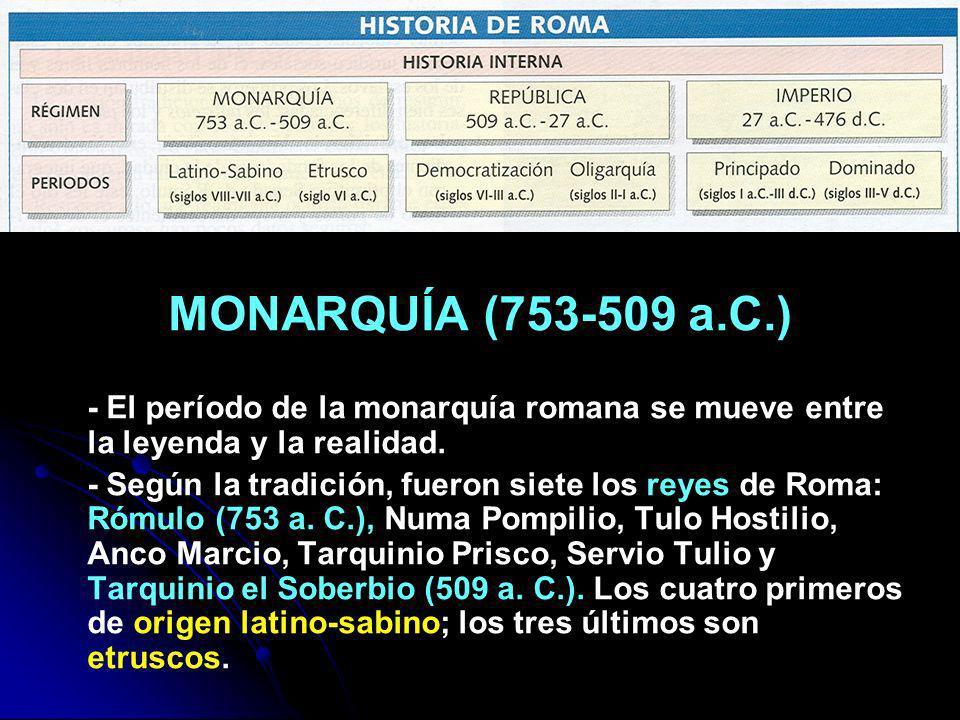 MONARQUÍA (753-509 a.C.) - El período de la monarquía romana se mueve entre la leyenda y la realidad. - Según la tradición, fueron siete los reyes de