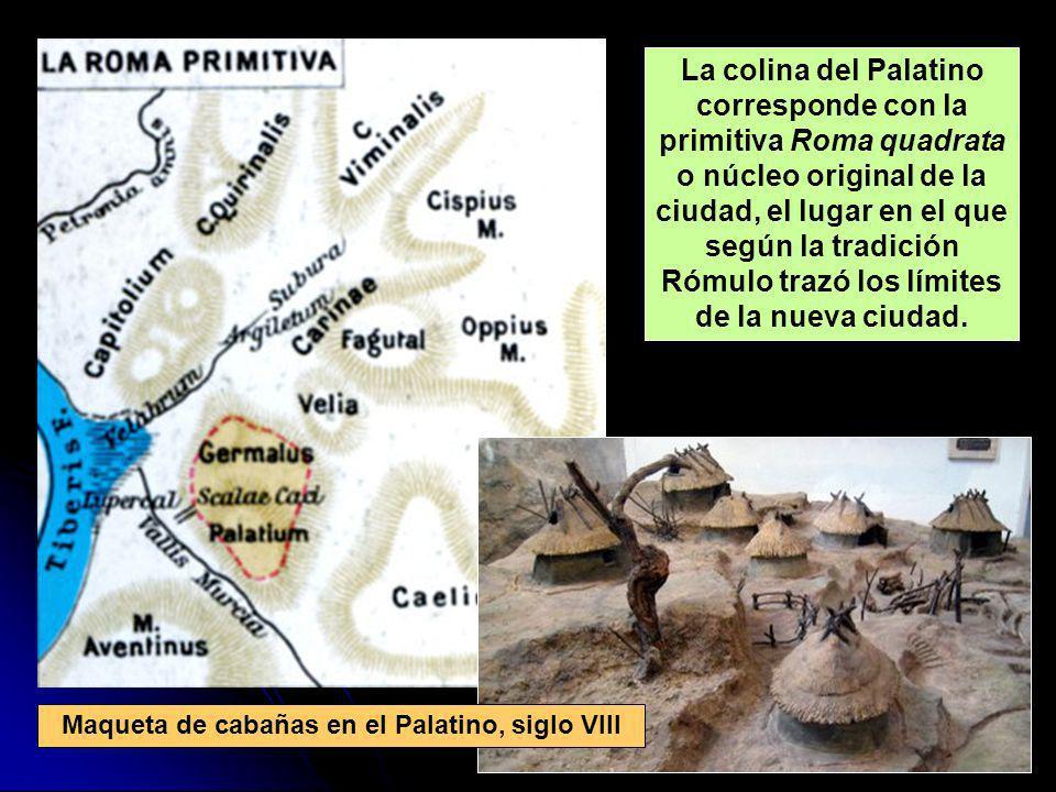 La colina del Palatino corresponde con la primitiva Roma quadrata o núcleo original de la ciudad, el lugar en el que según la tradición Rómulo trazó l