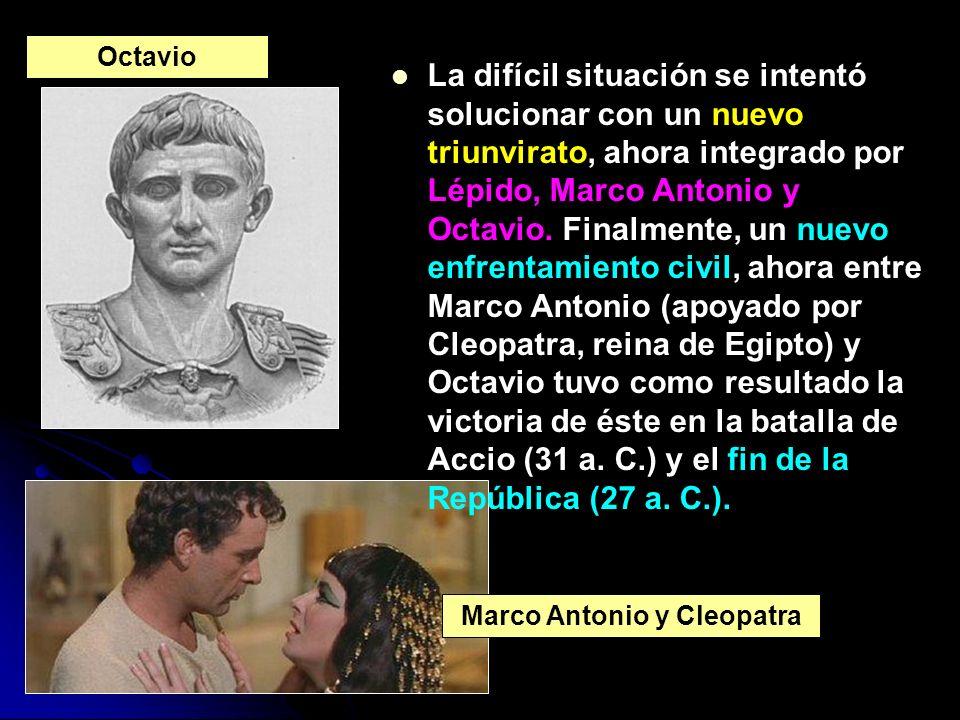 La difícil situación se intentó solucionar con un nuevo triunvirato, ahora integrado por Lépido, Marco Antonio y Octavio. Finalmente, un nuevo enfrent