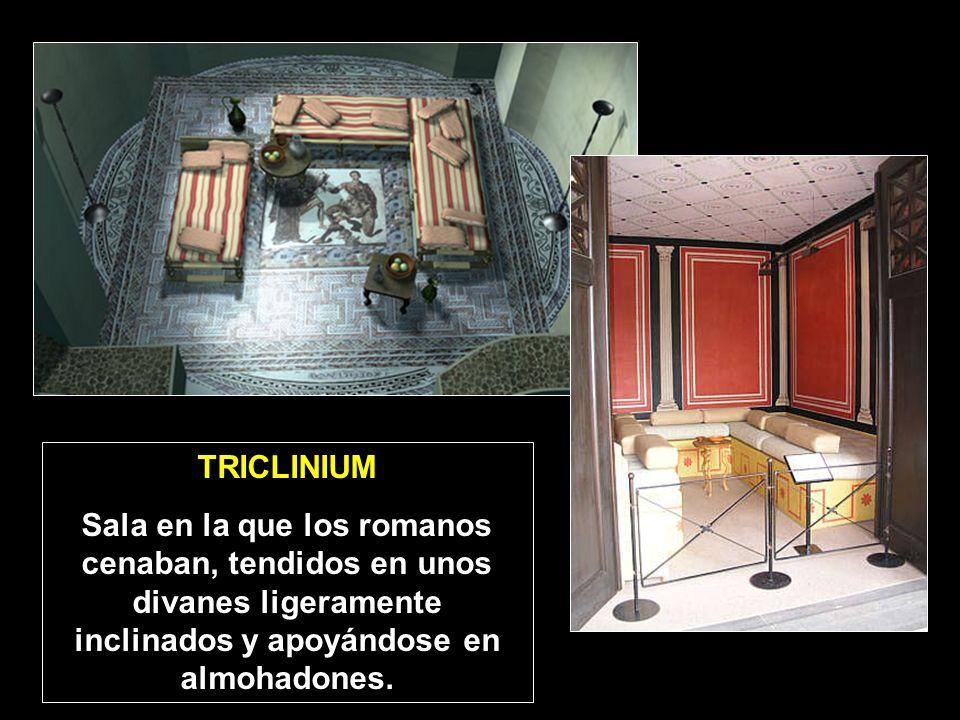 TRICLINIUM Sala en la que los romanos cenaban, tendidos en unos divanes ligeramente inclinados y apoyándose en almohadones.