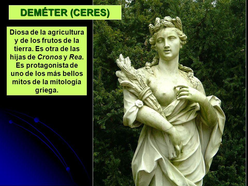 DEMÉTER (CERES) Diosa de la agricultura y de los frutos de la tierra. Es otra de las hijas de Cronos y Rea. Es protagonista de uno de los más bellos m