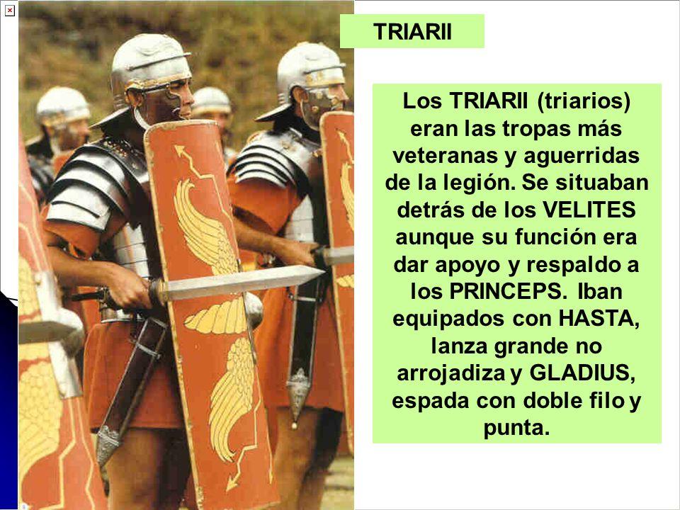 Los TRIARII (triarios) eran las tropas más veteranas y aguerridas de la legión. Se situaban detrás de los VELITES aunque su función era dar apoyo y re