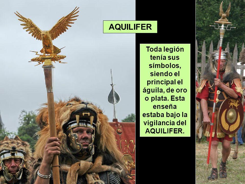 AQUILIFER Toda legión tenía sus símbolos, siendo el principal el águila, de oro o plata. Esta enseña estaba bajo la vigilancia del AQUILIFER.