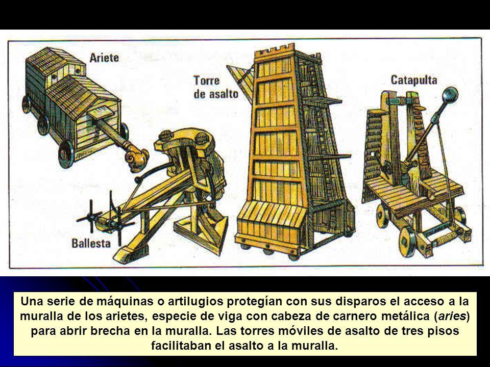 Una serie de máquinas o artilugios protegían con sus disparos el acceso a la muralla de los arietes, especie de viga con cabeza de carnero metálica (a