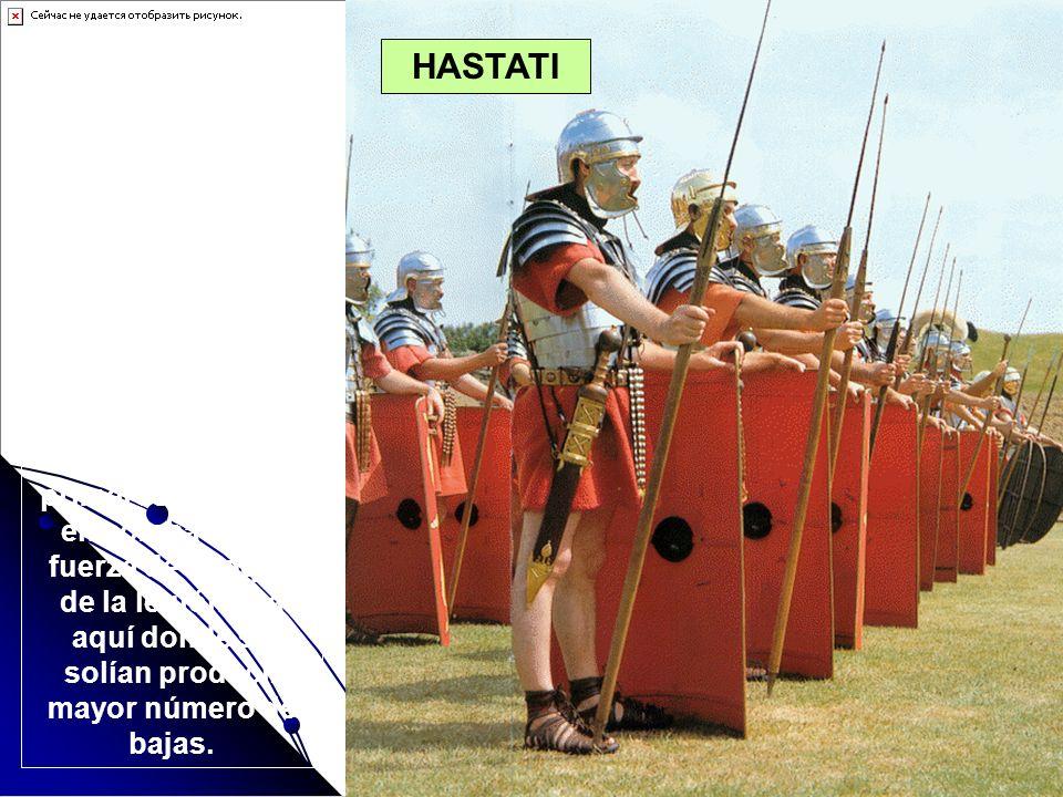 Los HASTATI (hastarios) eran soldados jóvenes, solía ser el primer destino de un legionario novato. Llevaban armadura completa y armados con el PILUM,