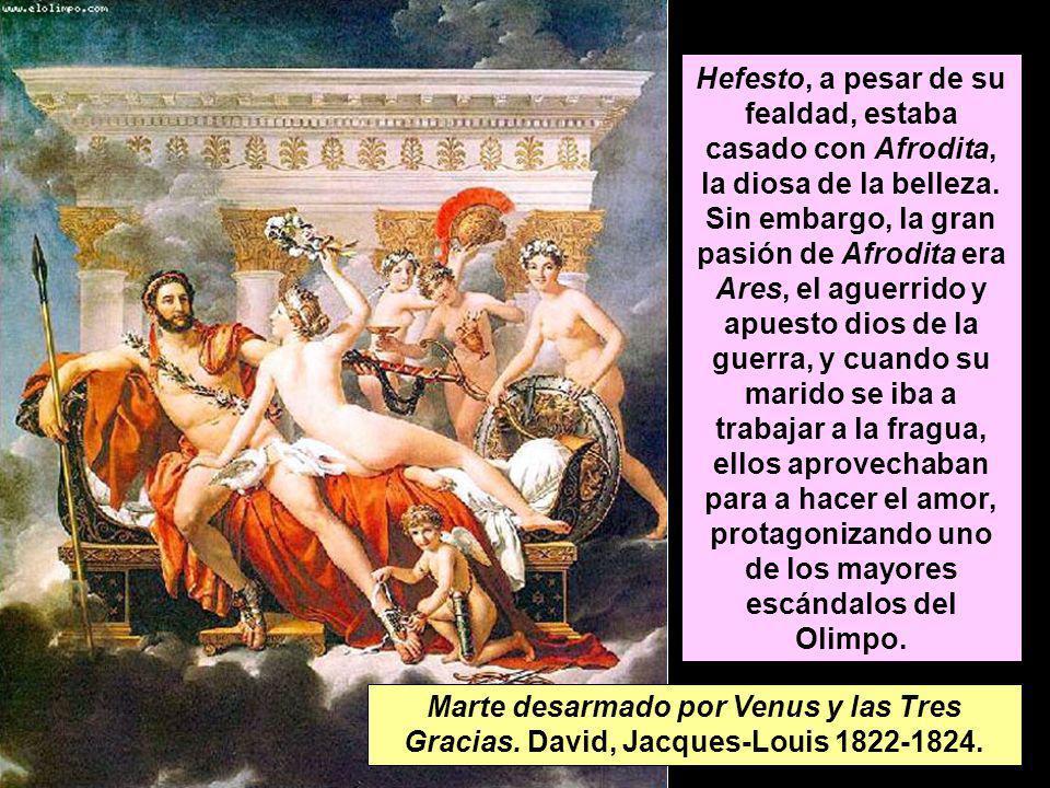 Hefesto, a pesar de su fealdad, estaba casado con Afrodita, la diosa de la belleza. Sin embargo, la gran pasión de Afrodita era Ares, el aguerrido y a