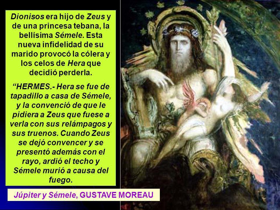 Dionisos era hijo de Zeus y de una princesa tebana, la bellísima Sémele. Esta nueva infidelidad de su marido provocó la cólera y los celos de Hera que