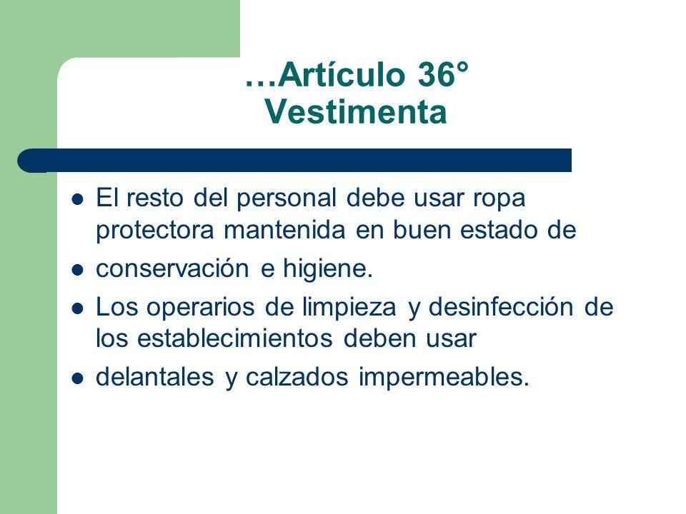 …Artículo 36° Vestimenta El resto del personal debe usar ropa protectora mantenida en buen estado de conservación e higiene. Los operarios de limpieza
