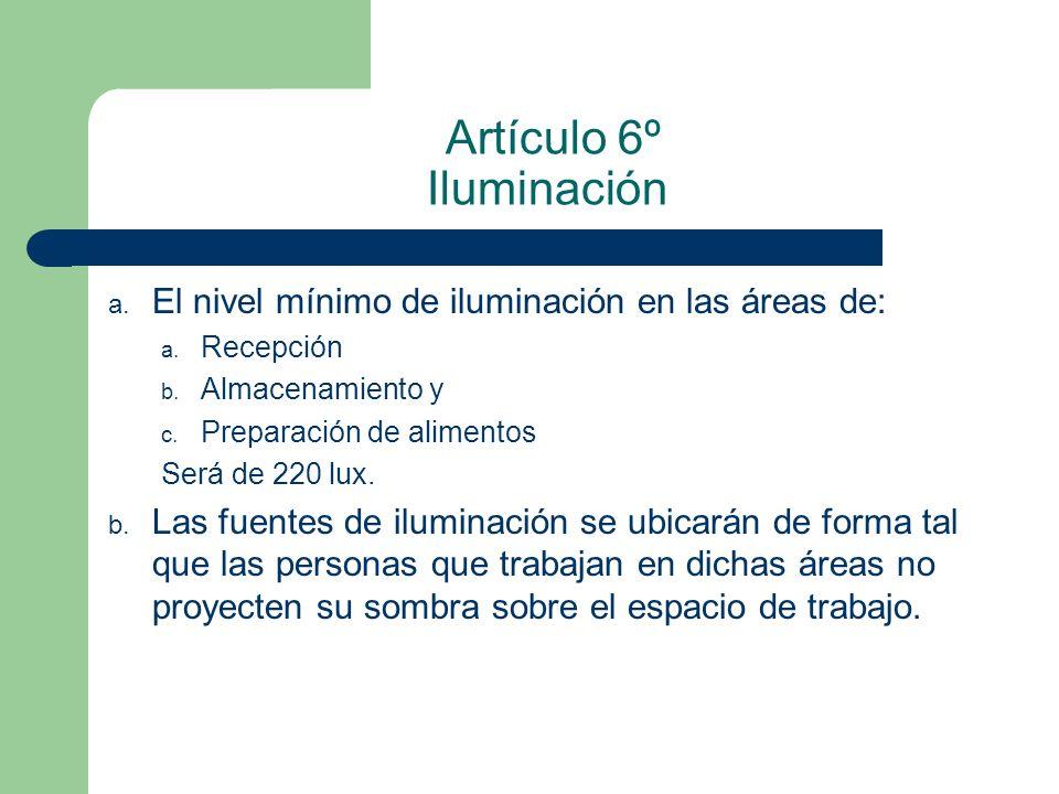 Artículo 6º Iluminación a. El nivel mínimo de iluminación en las áreas de: a. Recepción b. Almacenamiento y c. Preparación de alimentos Será de 220 lu