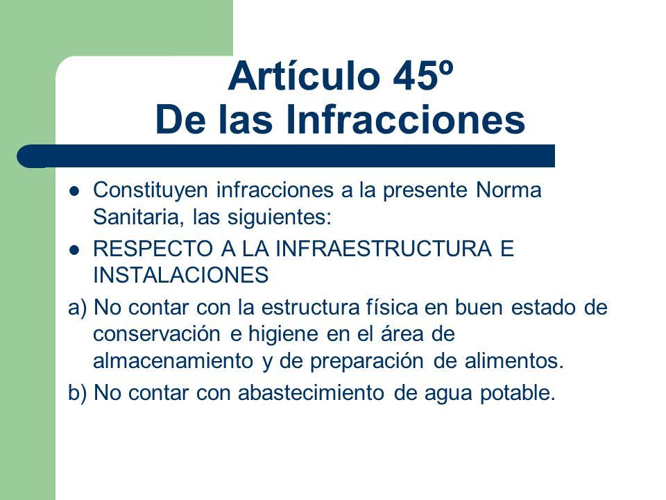 Artículo 45º De las Infracciones Constituyen infracciones a la presente Norma Sanitaria, las siguientes: RESPECTO A LA INFRAESTRUCTURA E INSTALACIONES