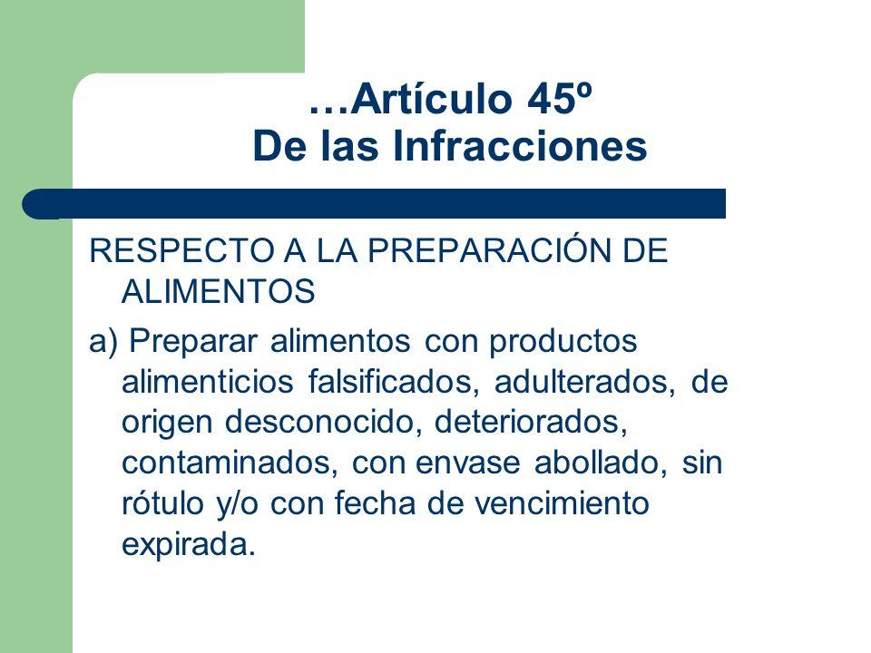 …Artículo 45º De las Infracciones RESPECTO A LA PREPARACIÓN DE ALIMENTOS a) Preparar alimentos con productos alimenticios falsificados, adulterados, d