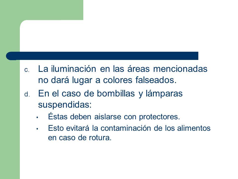 c. La iluminación en las áreas mencionadas no dará lugar a colores falseados. d. En el caso de bombillas y lámparas suspendidas: Éstas deben aislarse