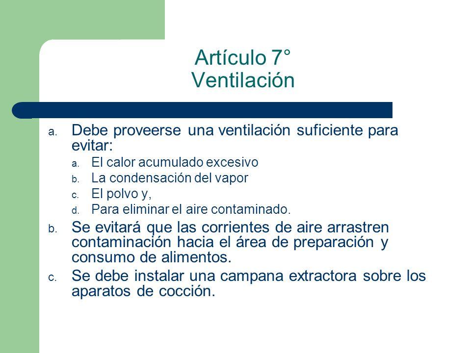 Artículo 7° Ventilación a. Debe proveerse una ventilación suficiente para evitar: a. El calor acumulado excesivo b. La condensación del vapor c. El po