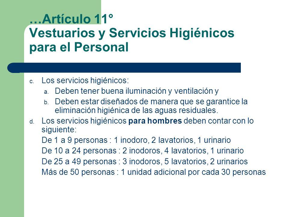 …Artículo 11° Vestuarios y Servicios Higiénicos para el Personal c. Los servicios higiénicos: a. Deben tener buena iluminación y ventilación y b. Debe
