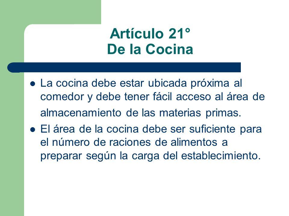 Artículo 21° De la Cocina La cocina debe estar ubicada próxima al comedor y debe tener fácil acceso al área de almacenamiento de las materias primas.