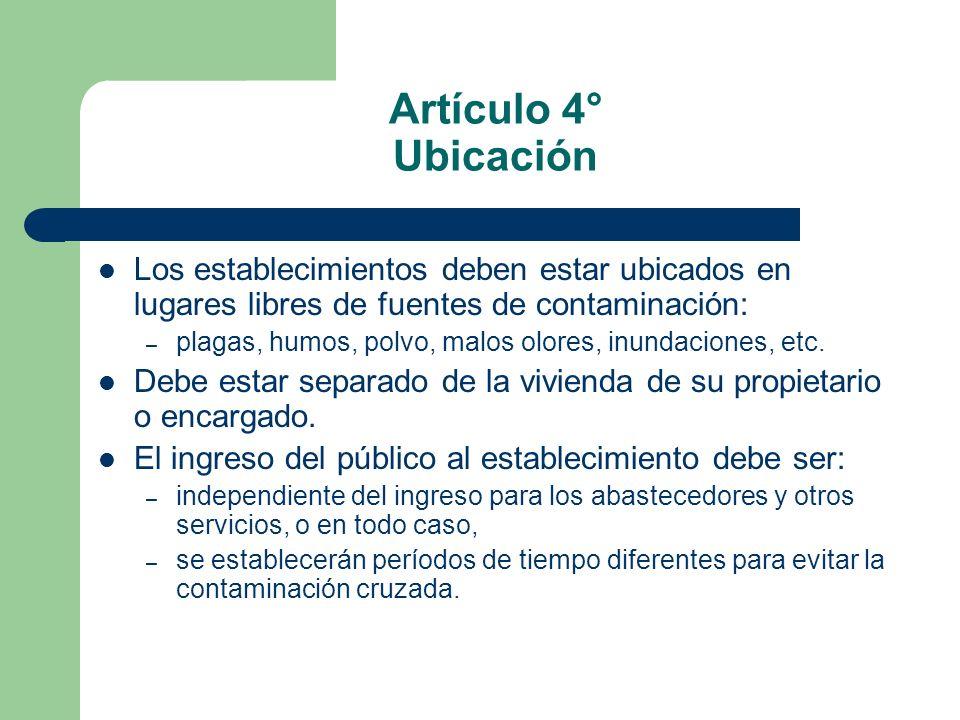 Artículo 4° Ubicación Los establecimientos deben estar ubicados en lugares libres de fuentes de contaminación: – plagas, humos, polvo, malos olores, i