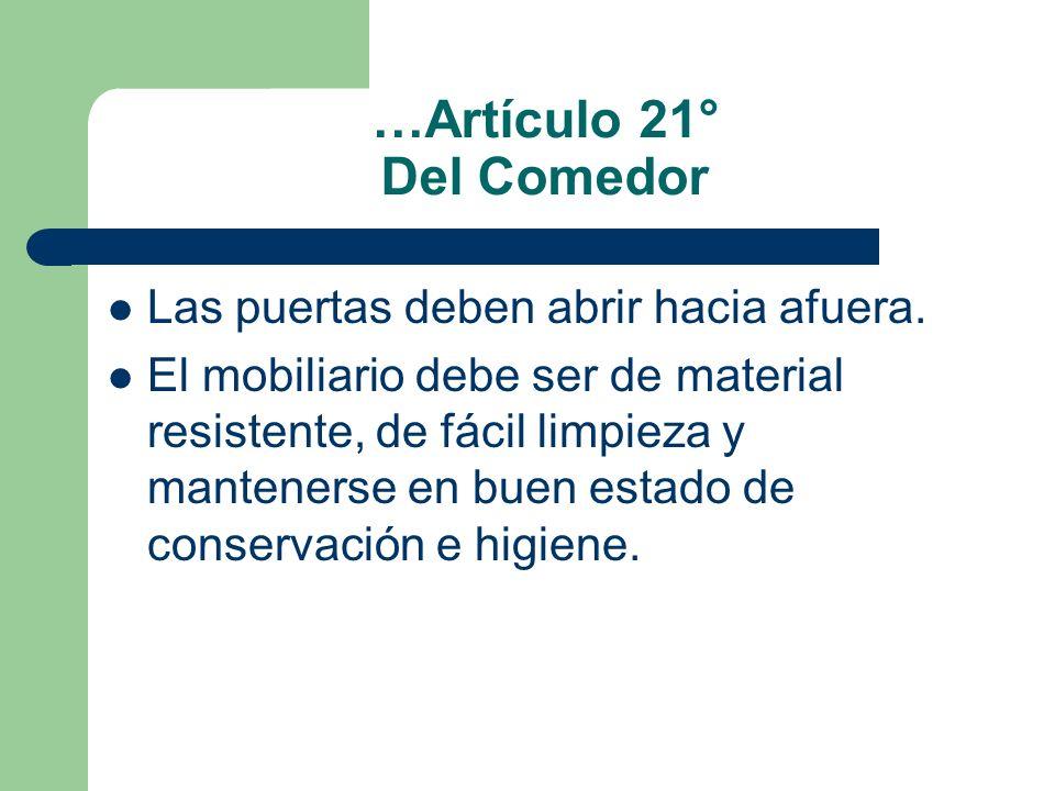 …Artículo 21° Del Comedor Las puertas deben abrir hacia afuera. El mobiliario debe ser de material resistente, de fácil limpieza y mantenerse en buen