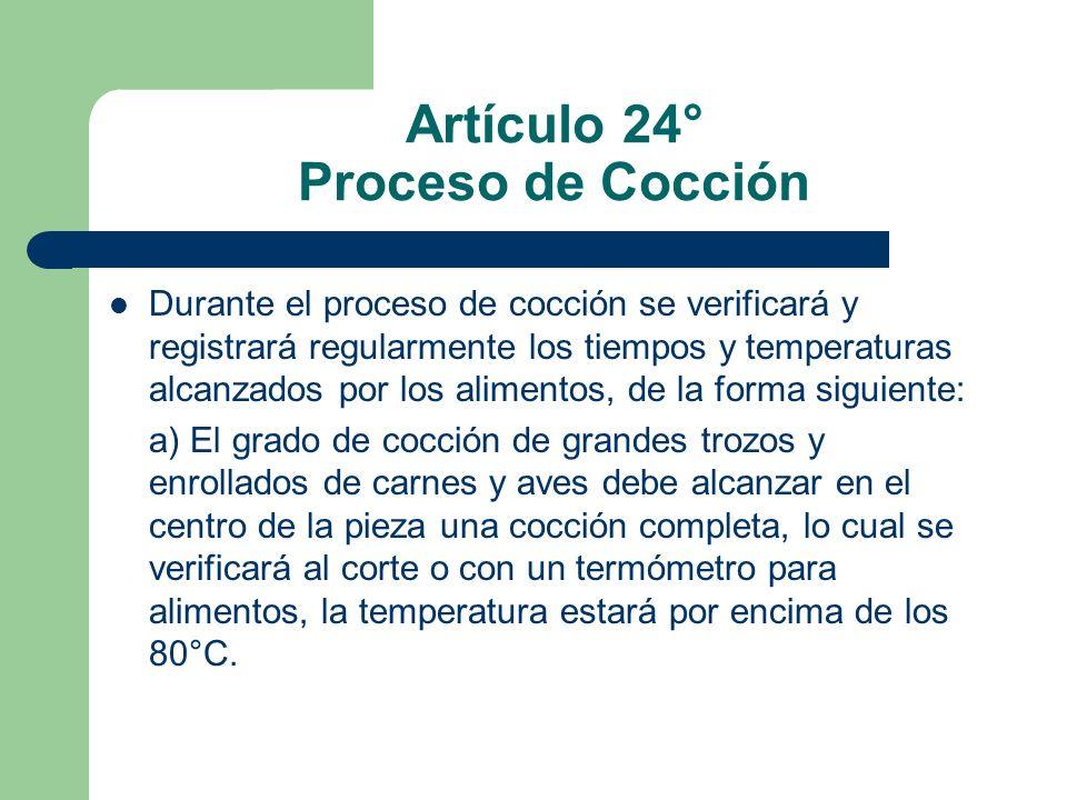 Artículo 24° Proceso de Cocción Durante el proceso de cocción se verificará y registrará regularmente los tiempos y temperaturas alcanzados por los al