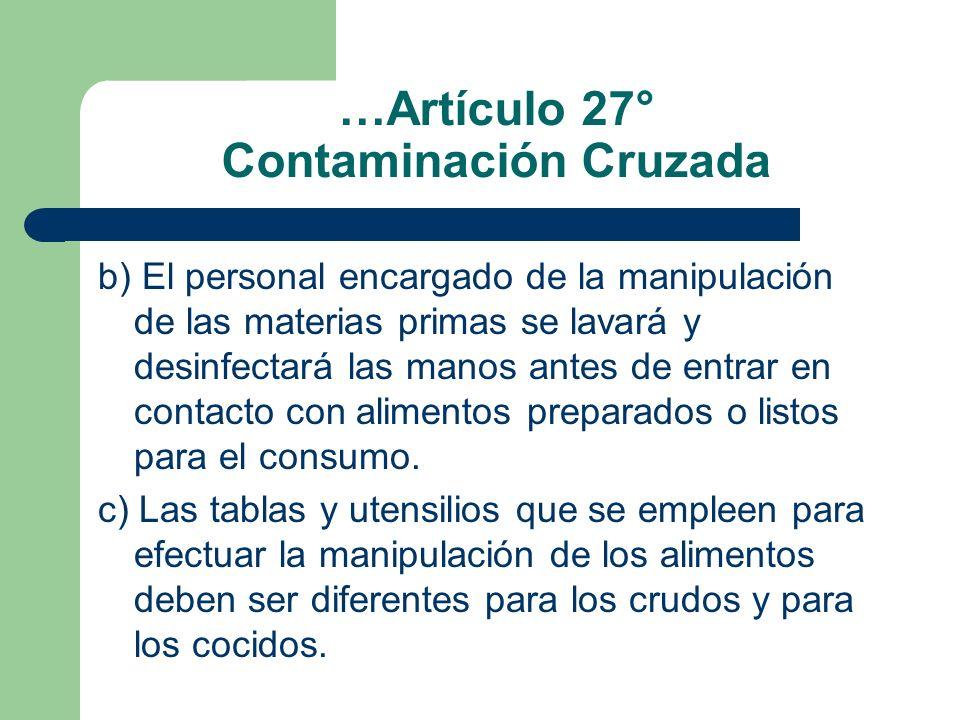…Artículo 27° Contaminación Cruzada b) El personal encargado de la manipulación de las materias primas se lavará y desinfectará las manos antes de ent