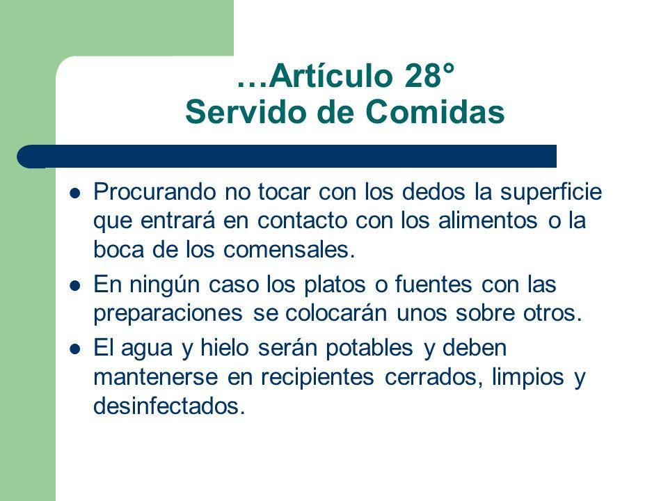 …Artículo 28° Servido de Comidas Procurando no tocar con los dedos la superficie que entrará en contacto con los alimentos o la boca de los comensales