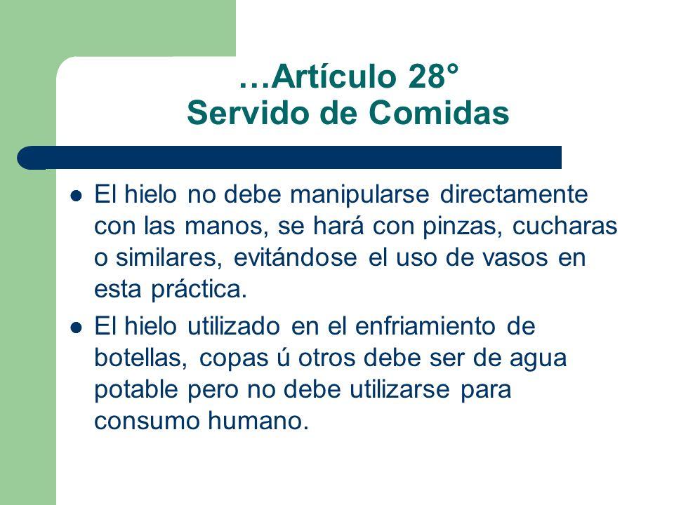 …Artículo 28° Servido de Comidas El hielo no debe manipularse directamente con las manos, se hará con pinzas, cucharas o similares, evitándose el uso