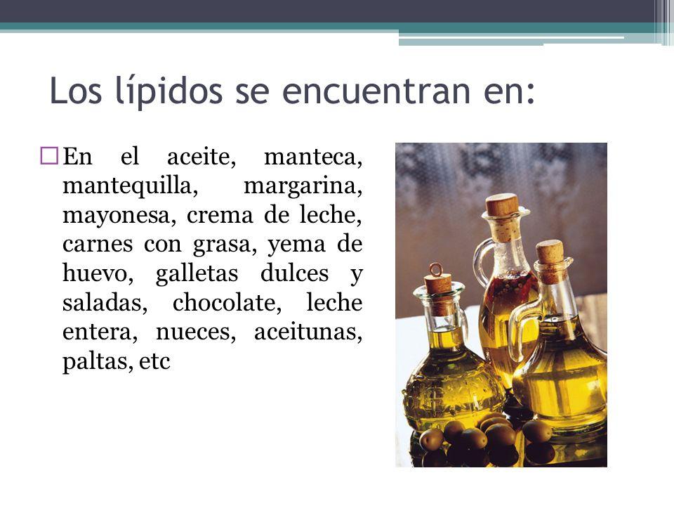 Los lípidos se encuentran en: En el aceite, manteca, mantequilla, margarina, mayonesa, crema de leche, carnes con grasa, yema de huevo, galletas dulce