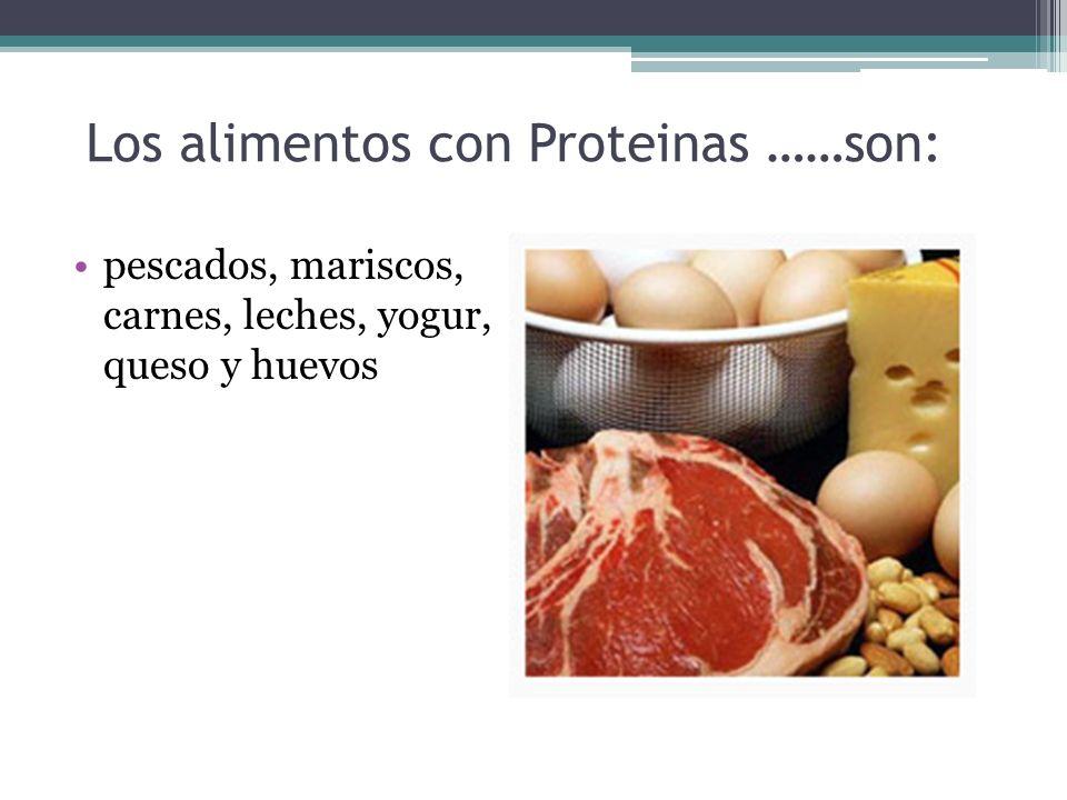 Los alimentos con Proteinas ……son: pescados, mariscos, carnes, leches, yogur, queso y huevos