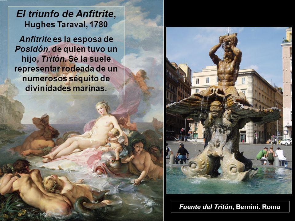 El triunfo de Anfitrite, Hughes Taraval, 1780 Anfitrite es la esposa de Posidón, de quien tuvo un hijo, Tritón. Se la suele representar rodeada de un