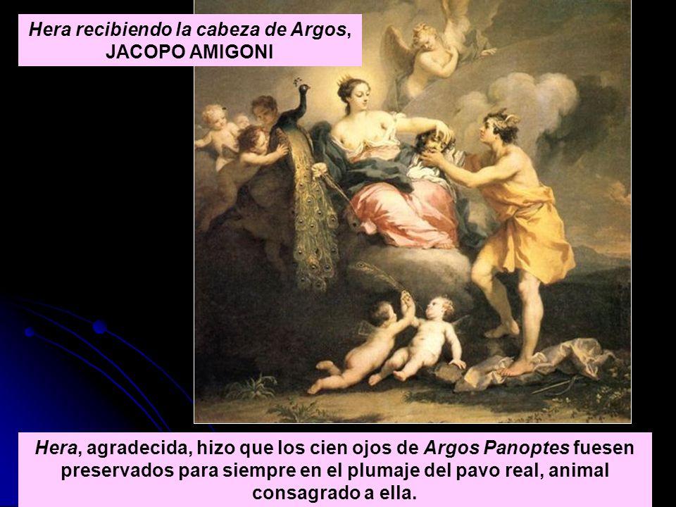 Hera, agradecida, hizo que los cien ojos de Argos Panoptes fuesen preservados para siempre en el plumaje del pavo real, animal consagrado a ella. Hera