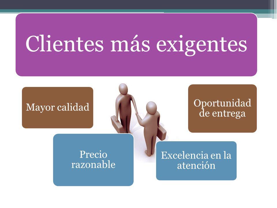 Clientes más exigentes Mayor calidad Precio razonable Excelencia en la atención Oportunidad de entrega
