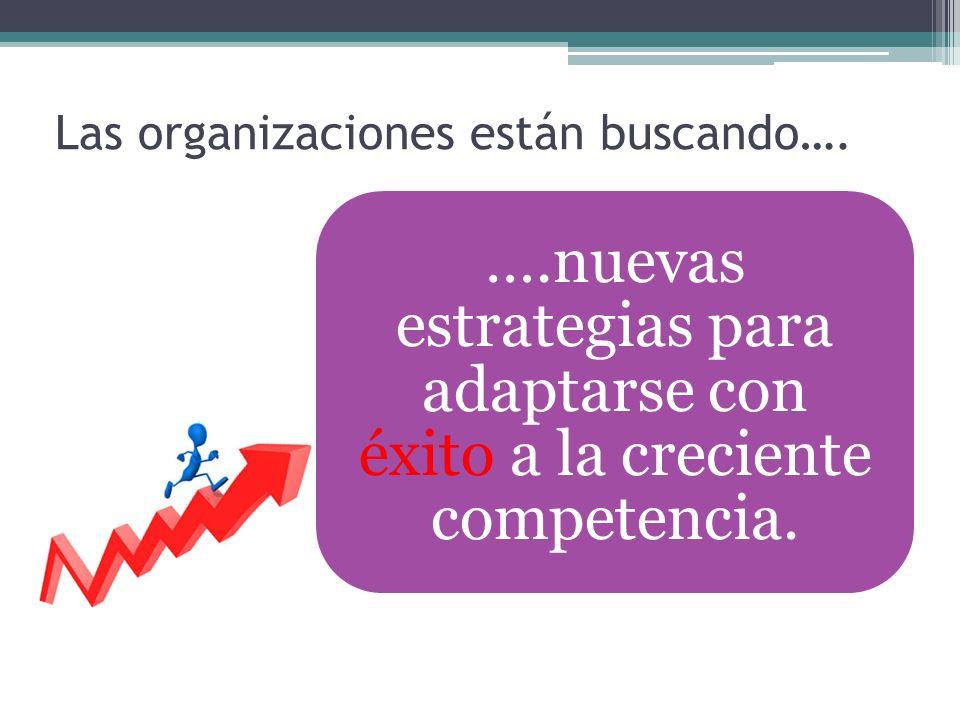 Las organizaciones están buscando…. ….nuevas estrategias para adaptarse con éxito a la creciente competencia.