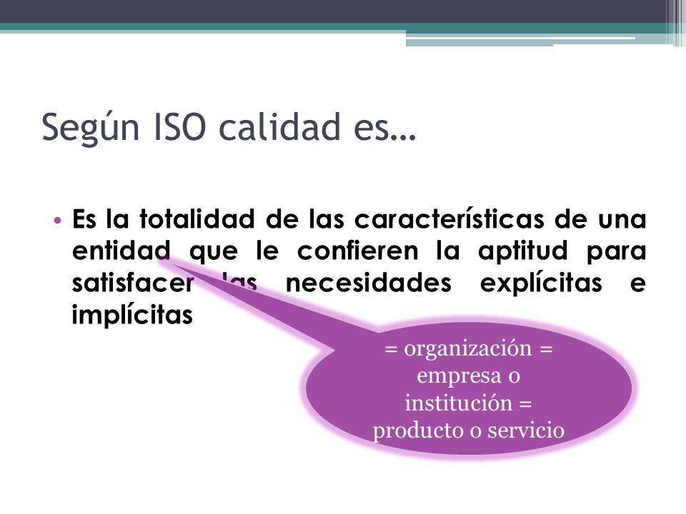 Según ISO calidad es… Es la totalidad de las características de una entidad que le confieren la aptitud para satisfacer las necesidades explícitas e i