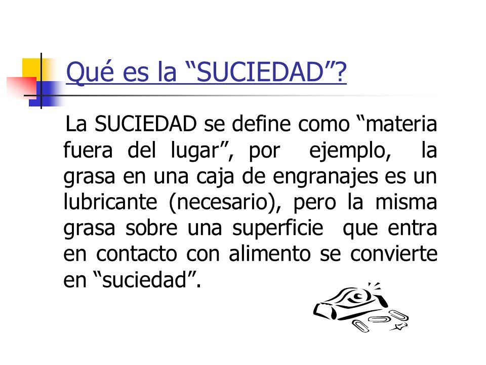 Qué es la SUCIEDAD? La SUCIEDAD se define como materia fuera del lugar, por ejemplo, la grasa en una caja de engranajes es un lubricante (necesario),
