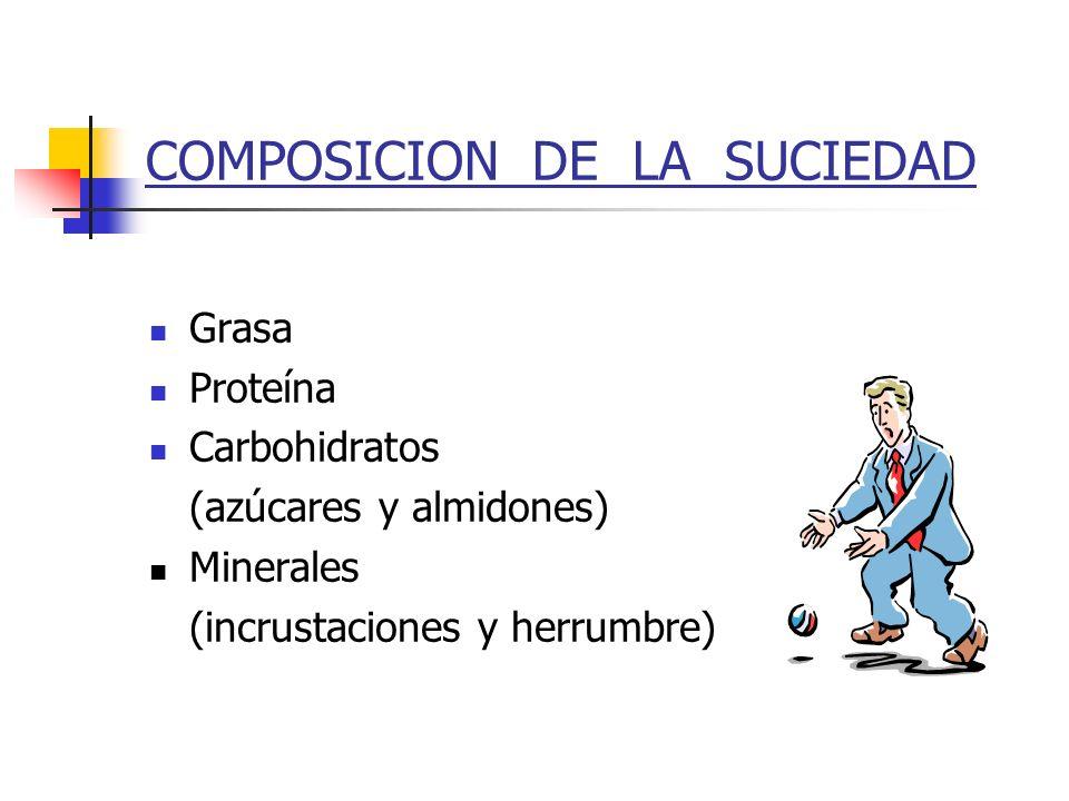 COMPOSICION DE LA SUCIEDAD Grasa Proteína Carbohidratos (azúcares y almidones) Minerales (incrustaciones y herrumbre)