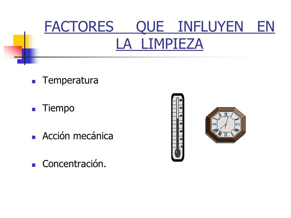 FACTORES QUE INFLUYEN EN LA LIMPIEZA Temperatura Tiempo Acción mecánica Concentración.