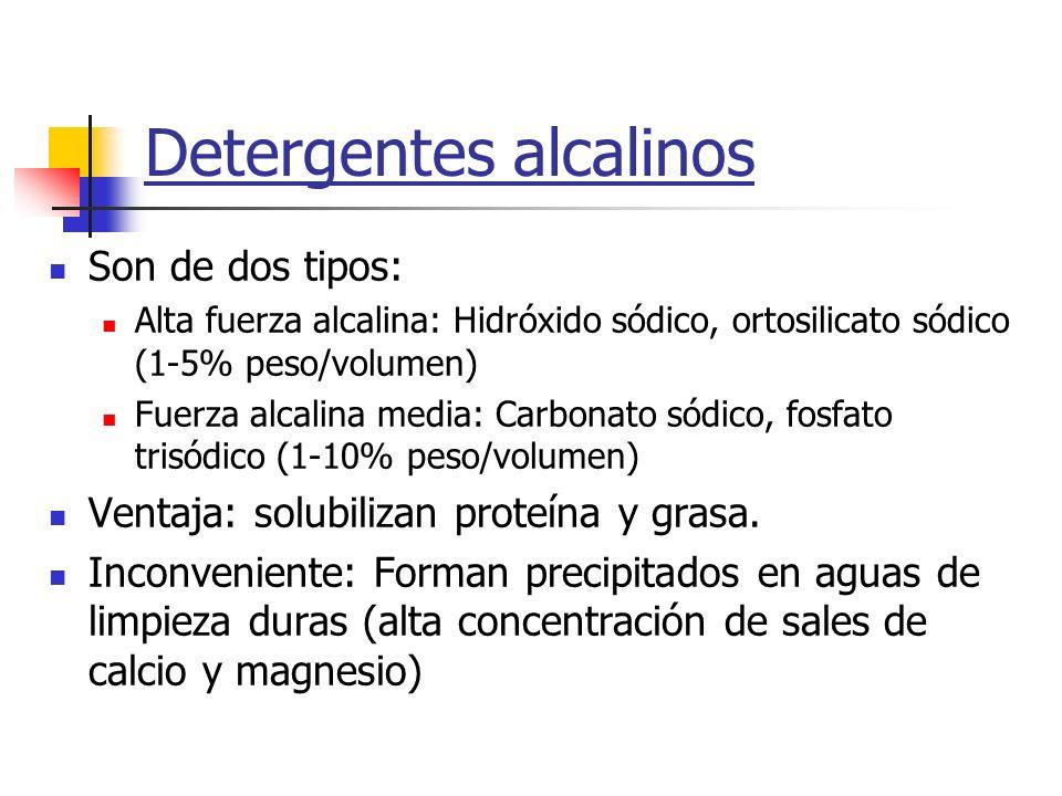 Detergentes alcalinos Son de dos tipos: Alta fuerza alcalina: Hidróxido sódico, ortosilicato sódico (1-5% peso/volumen) Fuerza alcalina media: Carbona