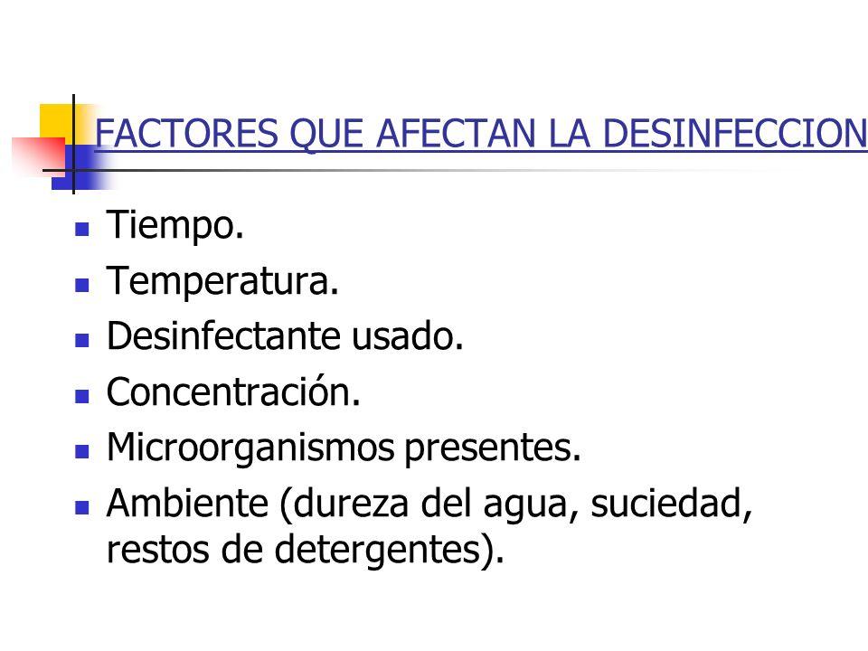 FACTORES QUE AFECTAN LA DESINFECCION Tiempo. Temperatura. Desinfectante usado. Concentración. Microorganismos presentes. Ambiente (dureza del agua, su