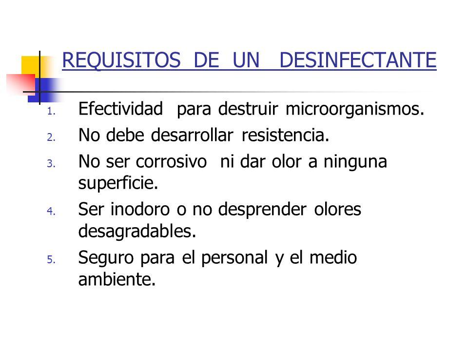 REQUISITOS DE UN DESINFECTANTE 1. Efectividad para destruir microorganismos. 2. No debe desarrollar resistencia. 3. No ser corrosivo ni dar olor a nin