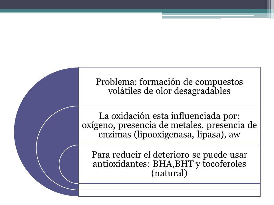 Problema: formación de compuestos volátiles de olor desagradables La oxidación esta influenciada por: oxígeno, presencia de metales, presencia de enzi