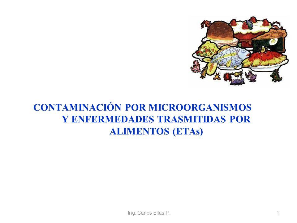 Ing. Carlos Elías P.1 CONTAMINACIÓN POR MICROORGANISMOS Y ENFERMEDADES TRASMITIDAS POR ALIMENTOS (ETAs)
