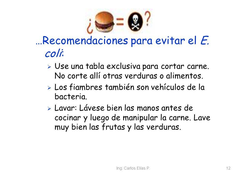Ing. Carlos Elías P.12 …Recomendaciones para evitar el E. coli: Use una tabla exclusiva para cortar carne. No corte allí otras verduras o alimentos. L