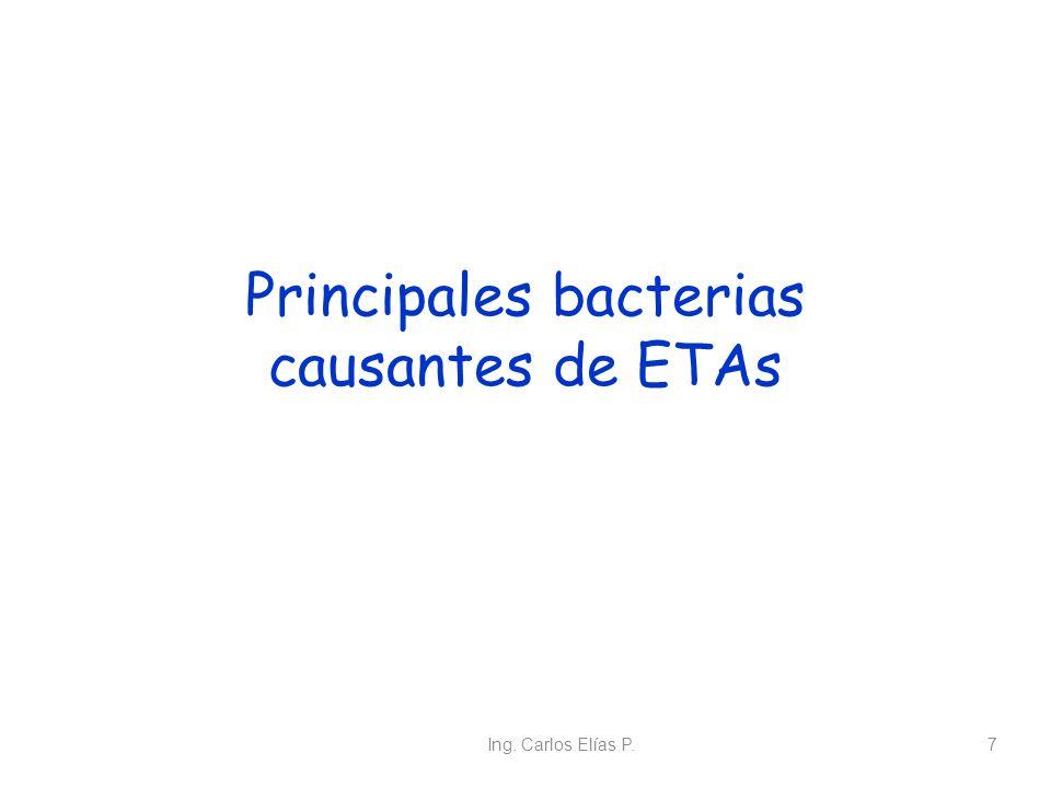 Ing. Carlos Elías P.7 Principales bacterias causantes de ETAs