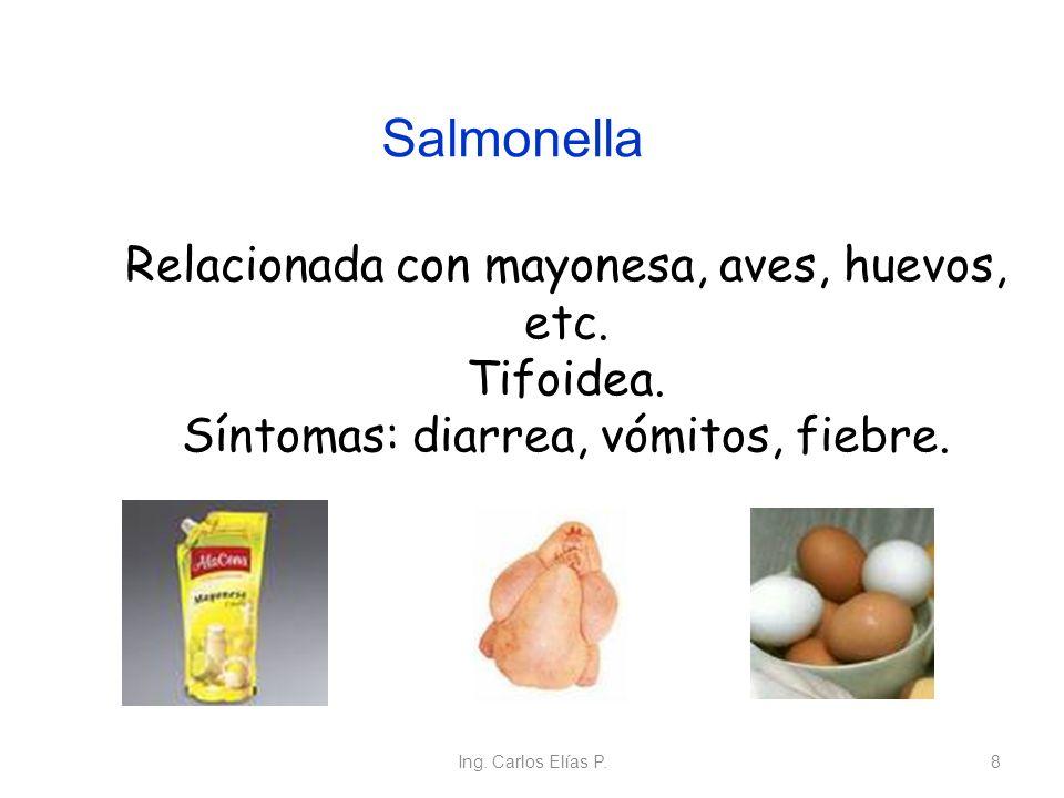 Ing. Carlos Elías P.8 Relacionada con mayonesa, aves, huevos, etc. Tifoidea. Síntomas: diarrea, vómitos, fiebre. Salmonella