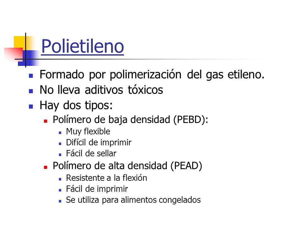 Polietileno Formado por polimerización del gas etileno. No lleva aditivos tóxicos Hay dos tipos: Polímero de baja densidad (PEBD): Muy flexible Difíci