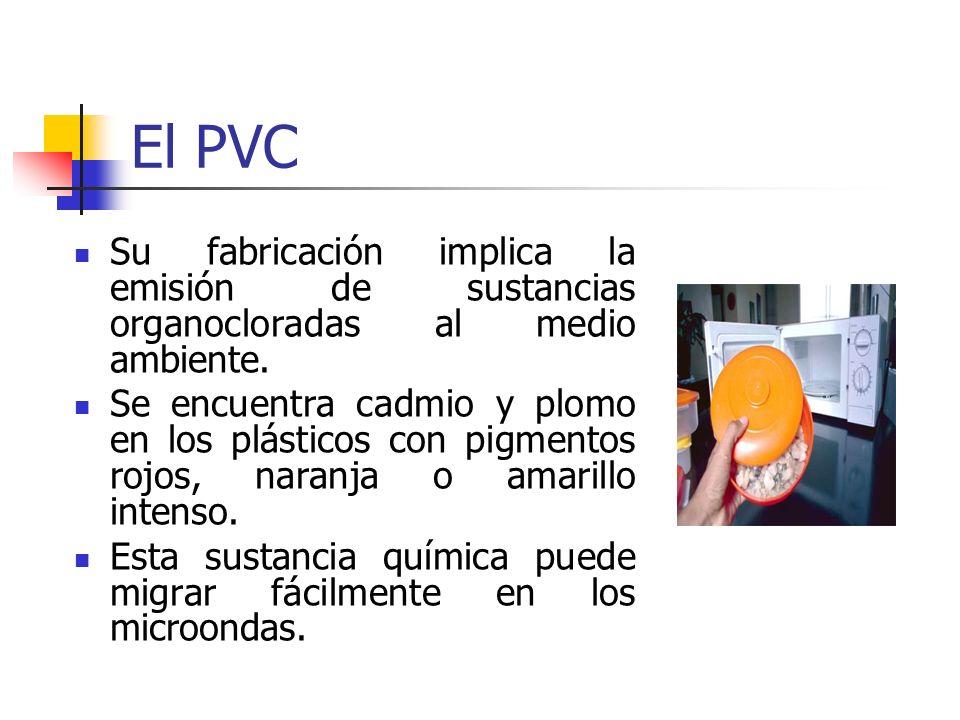 El PVC Su fabricación implica la emisión de sustancias organocloradas al medio ambiente. Se encuentra cadmio y plomo en los plásticos con pigmentos ro